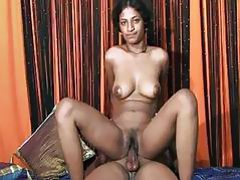 Indian slut bounces around on a big hard Penis