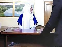 Beautiful Arab girlfriend slurping cock in hotel room